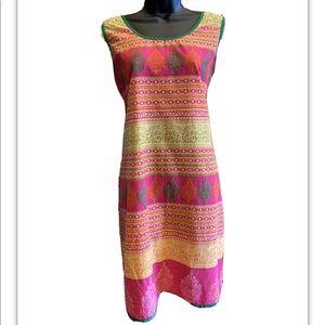 Multicolored Indian Kurta/Dress/Tunic Top Size L